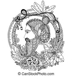 Vector illustration portrait of a man with an ornament. Doodle floral frame. Coloring book anti stress for adults. Black white.