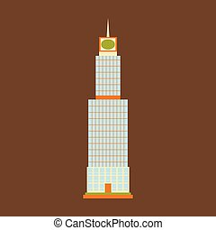 Vector illustration. Poster.Empire state building high-rise...