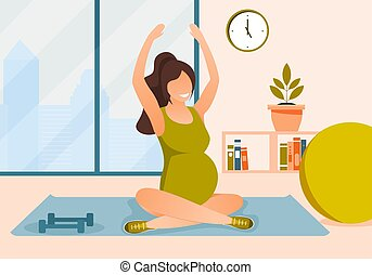 Vector illustration pregnant woman doing exercises