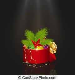 Present box with christmas decorations and tree