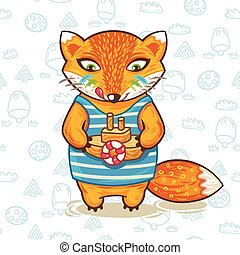 Vector illustration print of a cartoon fox with wooden toy ship