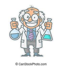 Vector Illustration, Professor holding test tubes, format EPS 10