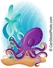 octopus - Vector illustration - purple octopus on the seabed...