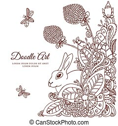 Vector illustration  rabbit in flower frame. Doodle drawing. Coloring book anti stress for adults. Meditative exercises. Brown white.