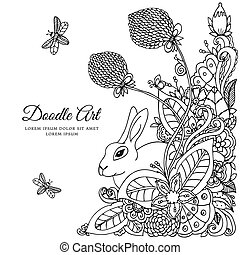 Vector illustration  rabbit in flower frame. Doodle drawing. Coloring book anti stress for adults. Meditative exercises. Black white.