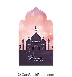Illustration Ramadan Kareem. Greeting card with mosque