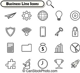 Business Line Icons On White Background