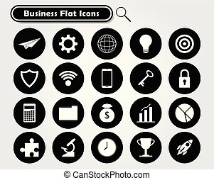 White Business Flat Icons On Black Circles