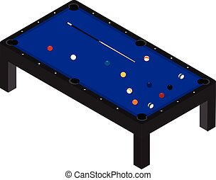 Vector illustration realistic pool table with set of billiard balls and cue. Billiard table with blue cloth isometric 3d perspective