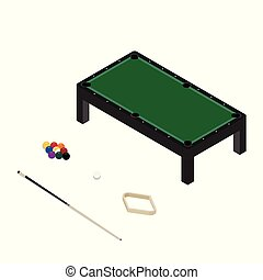 Vector illustration realistic pool table with set of billiard balls and cue. Billiard table with green cloth isometric 3d perspective