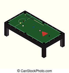 Vector illustration realistic snooker pool table with set of billiard balls and cue. Billiard table with green cloth isometric 3d perspective