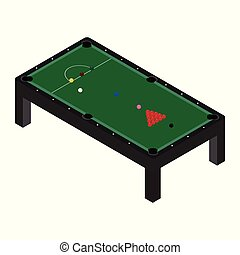 Vector illustration realistic snooker pool table with set of billiard balls and cue.