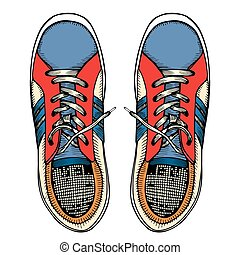 Vector illustration red and blue sports sneakers
