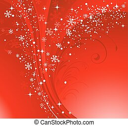 Red Christmas banner with snowflakes