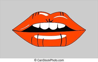 vector illustration red female lips