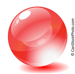Vector illustration. Red glossy circle web button.
