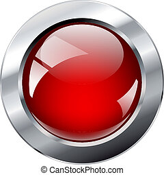 Vector illustration red glosy and shiny abstract web button with metal ring. Isolated on white background.