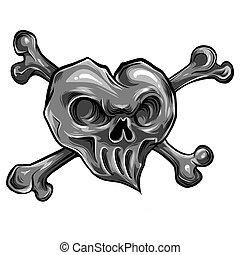 vector illustration red heart skull design icon flat