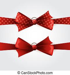 Red polka dot bow and ribbon - Vector illustration Red polka...
