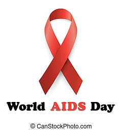 Vector illustration red ribbon - AIDS
