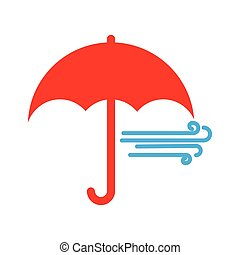 Red umbrella icon. Flat style on a blue background
