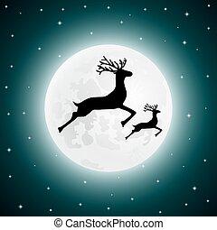 Reindeer and baby deer jumping - vector illustration...