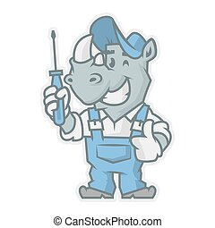 Rhinoceros character holding screwdriver