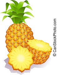 pineapples - Vector illustration - ripe pineapples