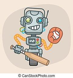 Robot Baseball Holds Bat and Ball in Glove