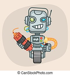 Robot Holds Dynamite