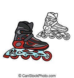 Roller Skate - Vector illustration : Roller Skate on a white...
