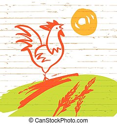 Vector illustration. Rooster in the meadow, the morning sun rise