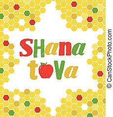 Vector illustration - Rosh Hashana Greeting Card - Vector...