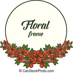 Vector illustration round red floral frame beautiful