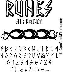 runic style hand drawn alphabet - Vector illustration -...