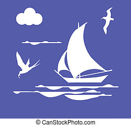 vector illustration sailboat in ocean