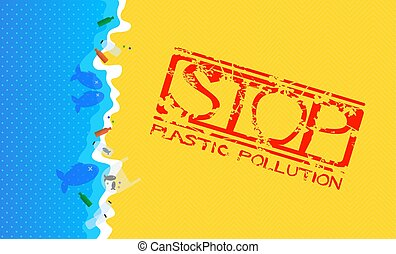 Sandy Beach with Flooded Plastic Waste. Grunge Stamp with Text: Stop Plastic Pollution.