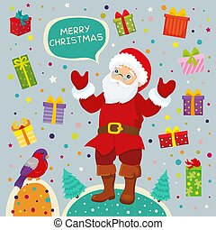 Vector Illustration Santa Claus With Christmas Gifts