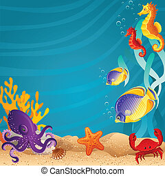 Sea bottom  - Vector illustration - Sea bottom  background