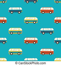 Vector Illustration. Seamles Pattern with Colorful Buses.