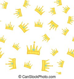Seamless golden crown pattern with gems white background