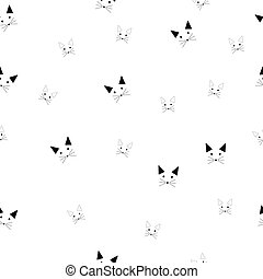 Vector illustration seamless pattern background design head of cute cat with red scarf. Doodle cartoon style.