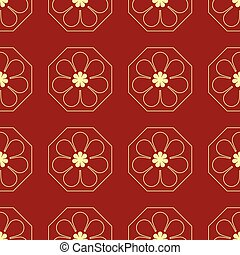 vector illustration seamless pattern golden flower with red background
