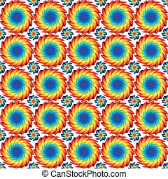 Vector illustration seamless pattern of bright discs with serrated edges of rainbow colors arranged in rows on a white background