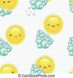 Vector illustration seamless pattern of funny cartoon sun with d