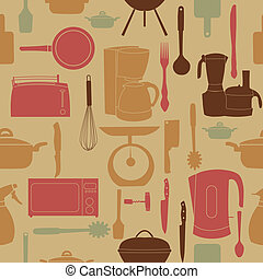 vector illustration seamless pattern of kitchen tools for cooking