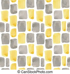 Vector illustration: seamless pattern of yellow and gray watercolor paint strokes and rectangles on white background