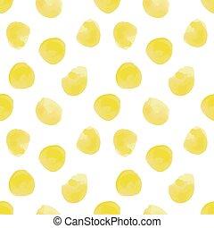 Vector illustration: seamless pattern of yellow watercolor circles