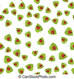 Seamless pattern. Red ladybug and green leaf