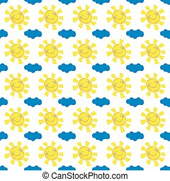 vector illustration seamless positive pattern, bright, joyful, smiling sun with yellow rays and blue cloud on white background